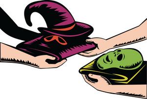Hands Exchanging Halloween Mask Retro