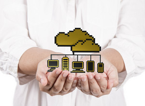 Hands Hold Golden Pixel Cloud Network Sign As Concept