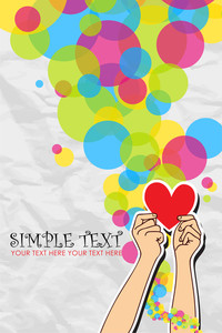 Hands Holding The Heart On A Paper-background. Vector Illustration.