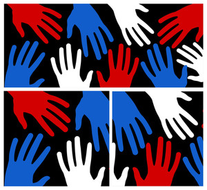 Hands Patriotic Usa Theme Vector
