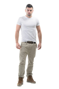 Handsome young guy in white shirt isolated on white