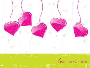 Hanging Pink Heart With White Background