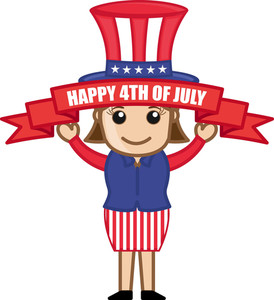 Happy 4th Of July - Cartoon Business Characters