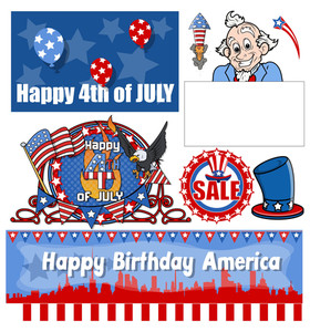 Happy 4th Of July Vector Set