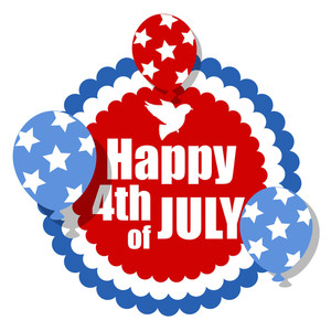 Happy 4th Of July  With Dove And Balloons Vector