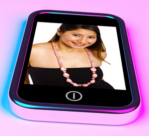 Happy And Smiling Young Woman Photo On A Mobile Phone