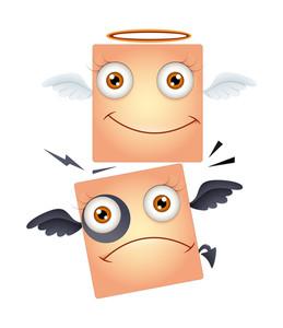 Happy Angel And Sad Devil Smiley