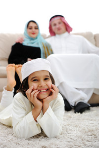 Happy Arabic family at home