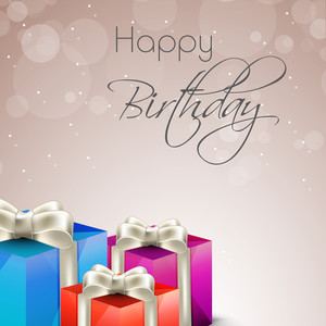 Happy Birhday Greeting Card Or Invitation Card With Colorful Gift Boxes Tied With Silver Ribbon On Shiny Background