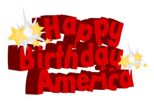 Happy Birthday America Greeting Text Vector