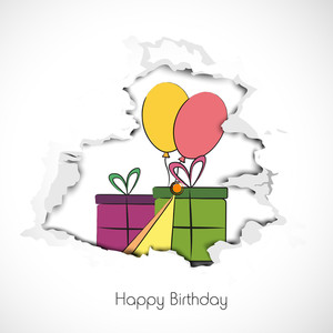Happy Birthday Background With Colorful Gift Boxes And Balloons