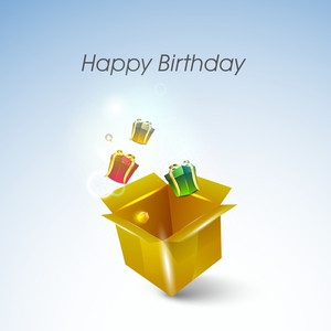 Happy Birthday Background With Colorful Gift Boxes Coming Out From A Golden Box