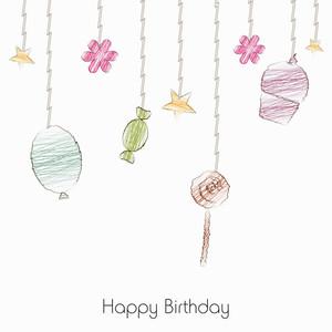 Happy Birthday Background With Hanging Ornaments On White Background