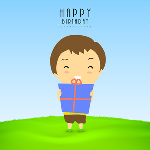 Happy Birthday Celebration Concept With Cute Little Boy Holding Gift Box On Nature Background.