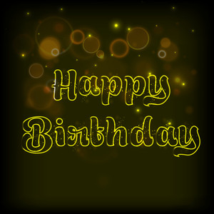 Happy Birthday Celebration Concept With Golden Text On Shiny Brown Background.