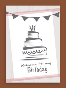 Happy Birthday celebration invitation card or greeting card design with cake.