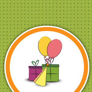 Happy Birthday Celebration With Different Birthday Items On Dotted Green Background