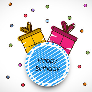 Happy Birthday Concept With Gift Bags And Sticker On Colorful Dots Background