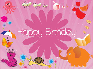 Happy Birthday Decoration For Kid Illustration