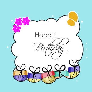 Happy Birthday Greeting Card Or Invitation Card Decorated With Balloons