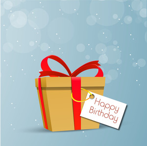 Happy Birthday Greeting Card Or Invitation Card With Beautiful Brown Bag Tied With Red Ribbon On Shiny Blue Background