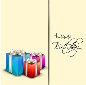 Happy Birthday Greeting Card Or Invitation Card  With Colorful Gift Boxes Tied With Silver Ribbon