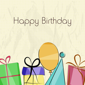 Happy Birthday Greeting Card Or Invitation Card With Diffrent Birthday Items On Grungy Background