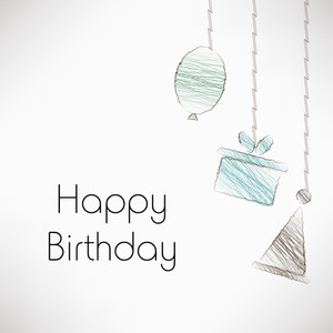 Happy Birthday Greeting Card Or Invitation Card With Diffrent Hangings Of Birthday Item