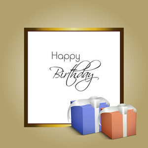 Happy Birthday Greeting Card Or Invitation Card With Stylish Text And Gift Boxes Tied With Silver Ribbon