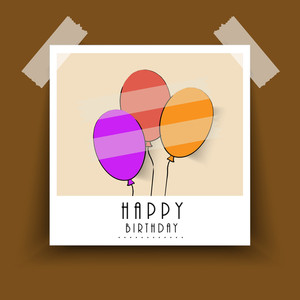 Happy Birthday Label Or Poster With Colorful Balloons Pasted On Brown Background
