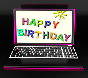 Happy Birthday On Laptop Shows Online Greetings