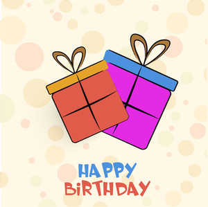 Happy Birthday Party Greeting Card Or Invitation Card With Colorful Gift Boxes