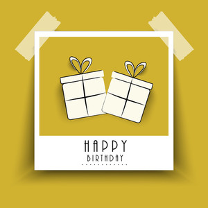 Happy Birthday Poster Or Label With Two Gift Bags Pasted On Brown Background