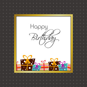Happy Birthday Poster Or Wall Hangings With Printed Gift Boxes And Stylish Text On Dotted Grey Background