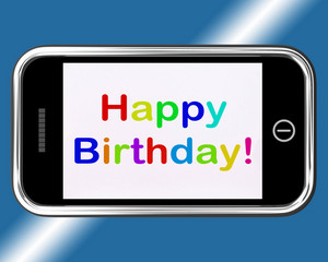 Happy Birthday Sign On Mobile Phone Shows Internet Greeting