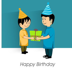 Happy Birthday Vintage Background With Two Cute Boys In Cap Holding Gift Box
