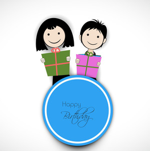 Happy Birthday Vintage Background With Two Cute Smiling Kids Holding Gift Boxes