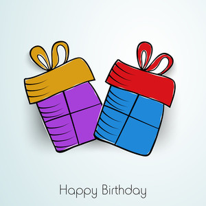 Happy Birthday Wallpaper Or Background With Colorful Gift Bags On Grey Background