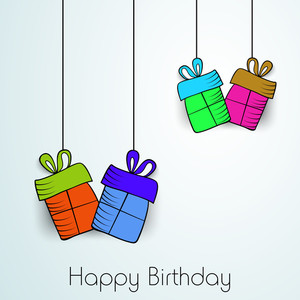 Happy Birthday Wallpaper With Colorful Hanging Gift Bags