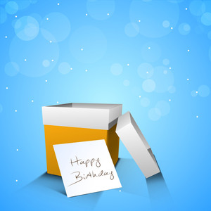 Happy Birthday Wallpaper With Open Gift Box On Shiny Blue Background
