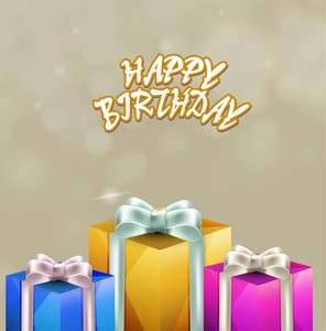 Happy Birthday Wishes With Colorful Gift Boxes On Shiny Background