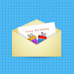 Happy Birthday Wishes With  Greeting Card In Envelope On Blue Dotted Background