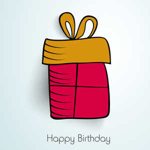 Happy Birthday Wishes With Pink Gift Bag On Blue Background