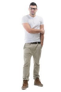 Happy boy in white shirt with glasses posing