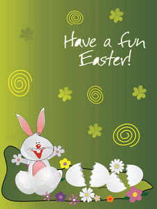 Happy Bunny And Egg Shell Isolated On Green
