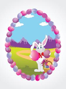 Happy Bunny In The Egg Frame