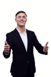 Happy businessman with thumbs up over white background