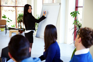 Happy businesswoman presenting something on flipchart