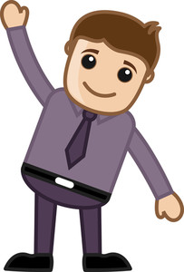 Happy Cartoon Man Raising His Hand