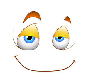 Happy Cartoon Smile Vector Face